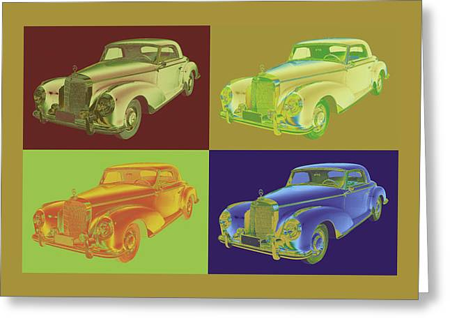 Old Auto Greeting Cards -  Mercedes Benz 300 Luxury Car Pop Art Greeting Card by Keith Webber Jr