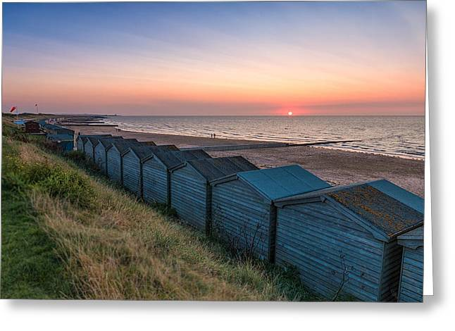Beach Huts Greeting Cards -  Minnis Bay Sunset Greeting Card by Ian Hufton