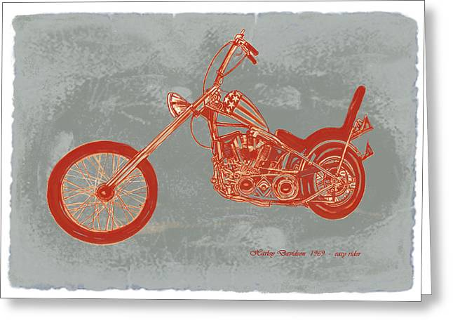 Where Greeting Cards -  Motorcycle Art Sketch Poster Greeting Card by Kim Wang