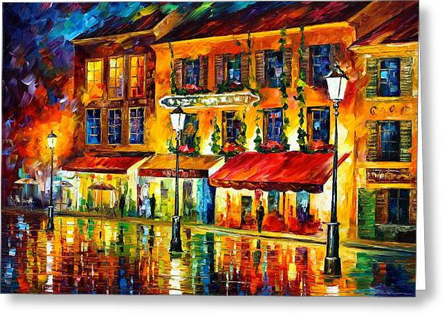 Owner Greeting Cards -  Paris Night Montmartre Greeting Card by Leonid Afremov