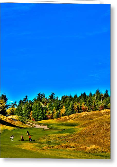 2015 U.s. Open Photographs Greeting Cards - #12 at Chambers Bay Golf Course - Location of the 2015 U.S. Open Tournament Greeting Card by David Patterson