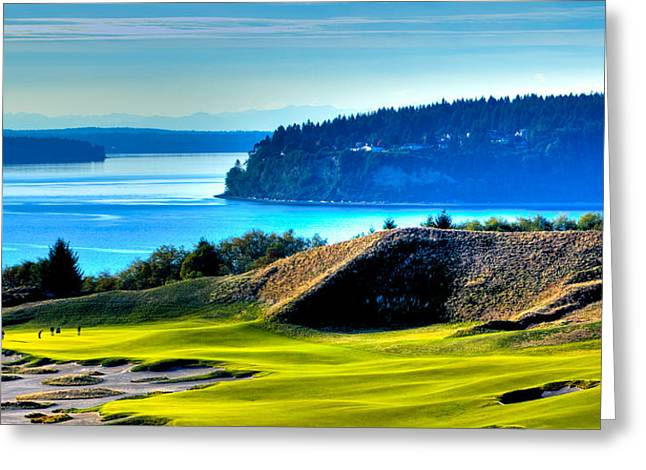 Us Open Golf Greeting Cards - #14 at Chambers Bay Golf Course - Location of the 2015 U.S. Open Tournament Greeting Card by David Patterson