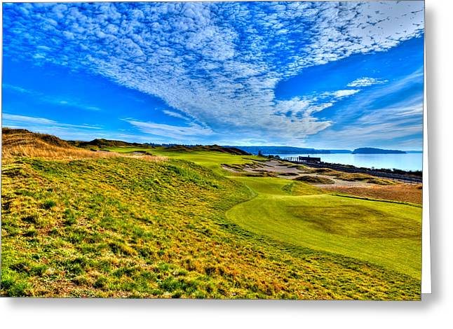 Us Open Greeting Cards - #16 at Chambers Bay Golf Course - Location of the 2015 U.S. Open Championship Greeting Card by David Patterson