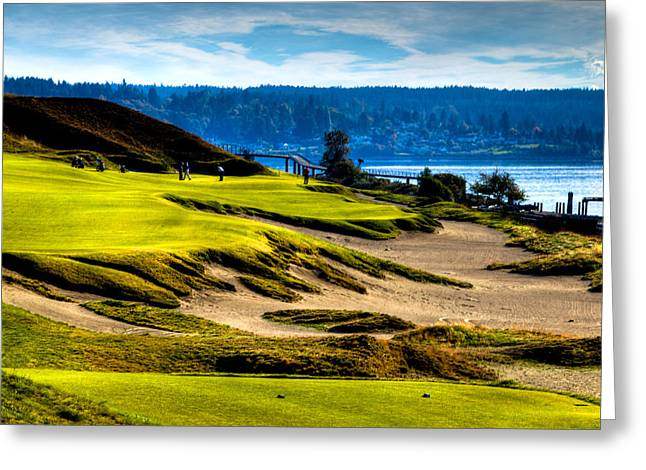 Us Open Golf Greeting Cards - #16 at Chambers Bay Golf Course - Location of the 2015 U.S. Open Tournament Greeting Card by David Patterson