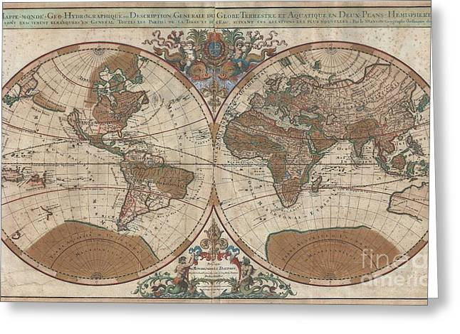 Not In Use Greeting Cards - 1691 Sanson Map of the World on Hemisphere Projection Greeting Card by Paul Fearn