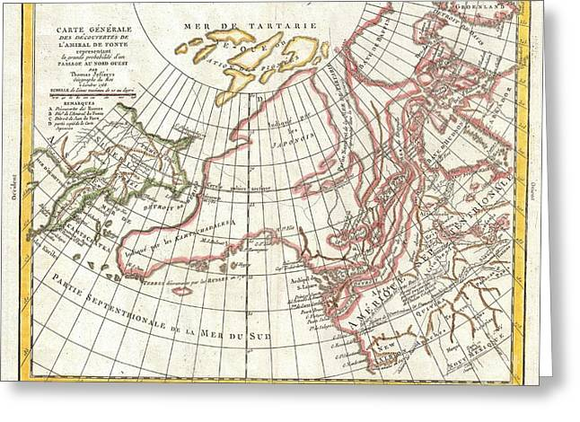 Great American Past Time Greeting Cards - 1772 Vaugondy  Diderot Map of Alaska the Pacific Northwest and the Northwest Passage Greeting Card by Paul Fearn