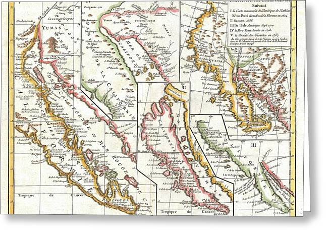 Cooks Illustrated Greeting Cards - 1772 Vaugondy  Diderot Map of California in five states California as Island Greeting Card by Paul Fearn