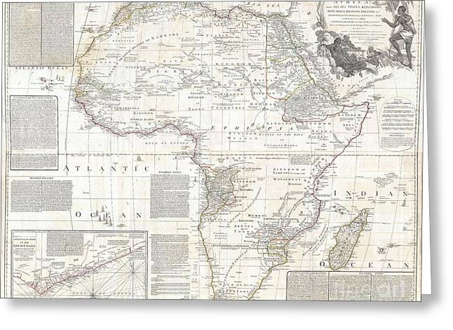 King Of Beast Prints Greeting Cards - 1794 Boulton and Anville Wall Map of Africa Greeting Card by Paul Fearn