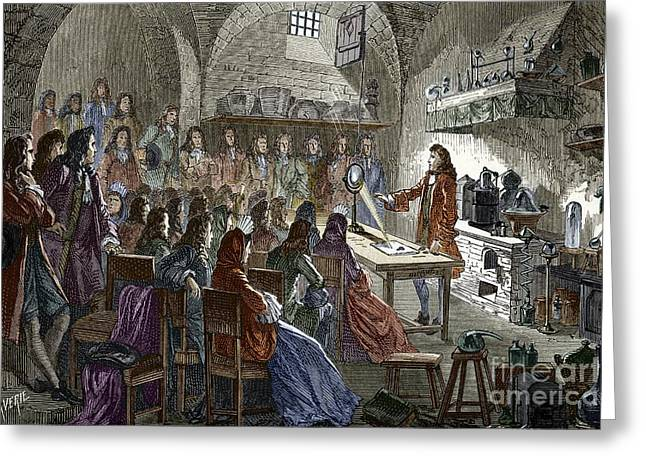 Explanation Greeting Cards - 17th Century Lecture By Nicolas Lemery Greeting Card by Sheila Terry