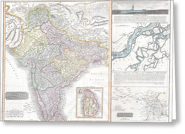 The Ganges Greeting Cards - 1814 Thomson Map of India Greeting Card by Paul Fearn