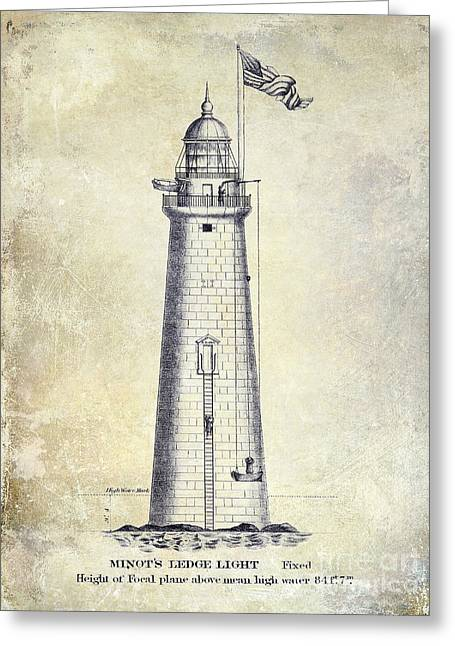 Ledge Drawings Greeting Cards - 1852 Minots Ledge Lighthouse  Greeting Card by Jon Neidert
