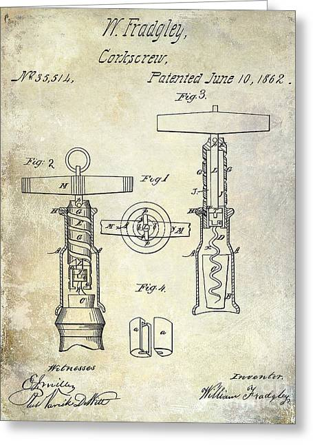Wine Cork Greeting Cards - 1862 Corkscrew Patent Drawing Greeting Card by Jon Neidert