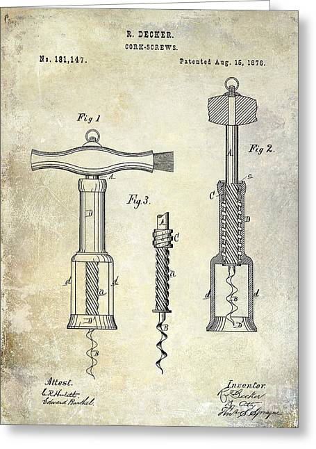 Cocktails Greeting Cards - 1876 Corkscrew Patent drawing Greeting Card by Jon Neidert