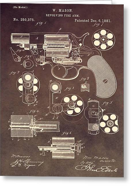 Weapon Mixed Media Greeting Cards - 1881 Colt Revolver Patent Greeting Card by Dan Sproul