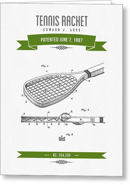 Technical Mixed Media Greeting Cards - 1887 Tennis Racket Patent Drawing - Retro Green Greeting Card by Aged Pixel