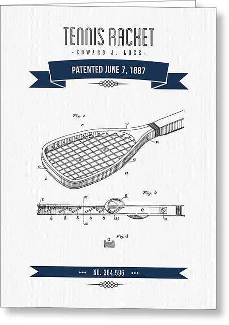 Technical Mixed Media Greeting Cards - 1887 Tennis Racket Patent Drawing - Retro Navy Blue Greeting Card by Aged Pixel