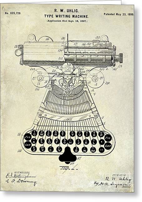 Reporter Greeting Cards - 1899 Type Writer Patent Drawing Greeting Card by Jon Neidert