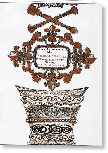 Book Title Greeting Cards - 18th Century Pharmacopoeia, Title Page Greeting Card by CCI Archives