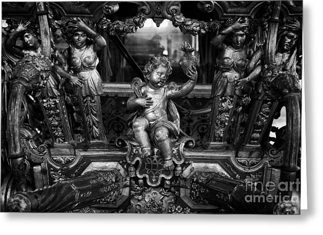 Wood Sculpture Greeting Cards - 18th century Pope Clement XI Coach Greeting Card by Jose Elias - Sofia Pereira