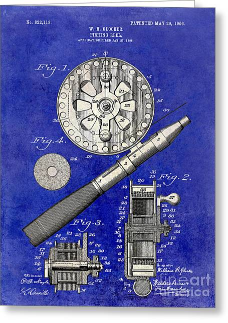 Large-mouth Bass Greeting Cards - 1906 Fishing Reel Patent Drawing Blue 2 Tone Greeting Card by Jon Neidert