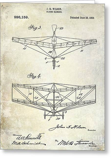 Vintage Aircraft Greeting Cards - 1909 Flying Machine Patent Drawing  Greeting Card by Jon Neidert