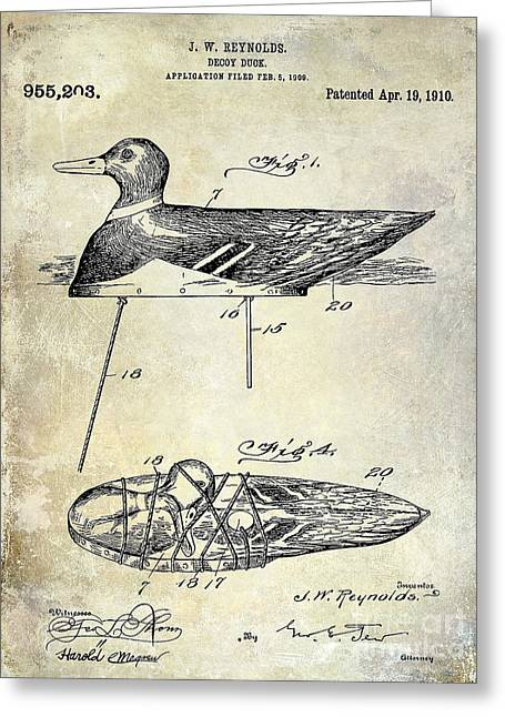 Duck Hunting Greeting Cards - 1910 duck Decoy Patent Drawing Greeting Card by Jon Neidert
