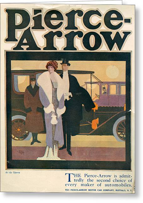 Black Tie Greeting Cards - 1910s Usa Pierce-arrow Magazine Advert Greeting Card by The Advertising Archives