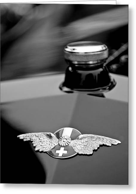 Suiza Greeting Cards - 1912 Hispano-Suiza 15-45 HP Alfonso XIII Jaquot Torpedo Hood Emblem Greeting Card by Jill Reger
