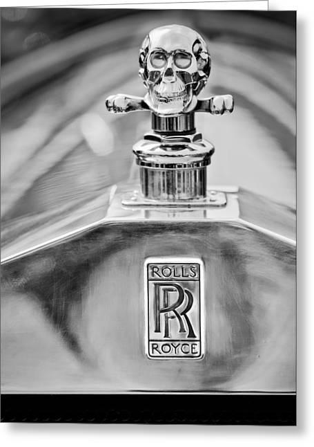 1912 Greeting Cards - 1912 Rolls-Royce Silver Ghost Cann Roadster Hood Ornament - Emblem Greeting Card by Jill Reger