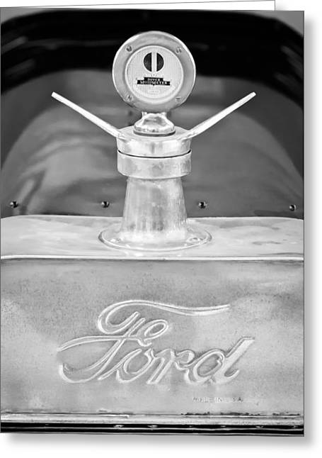 Depot Greeting Cards - 1915 Ford Depot Hack Emblem - Moto Meter Hood Ornament Greeting Card by Jill Reger