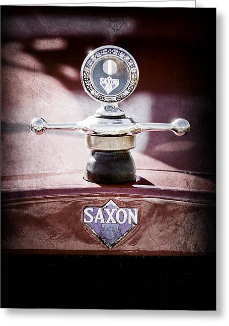 Motometer Greeting Cards - 1915 Saxon Roadster Hood Ornament Greeting Card by Jill Reger