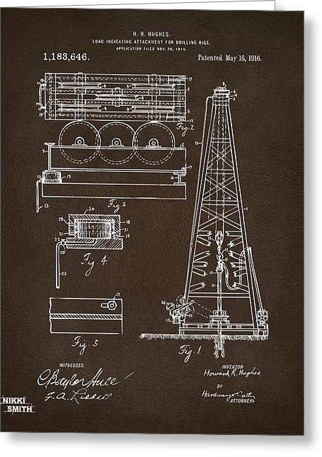 Patent Leather Greeting Cards - 1916 Oil Drilling Rig Patent Artwork - Blueprint Greeting Card by Nikki Marie Smith