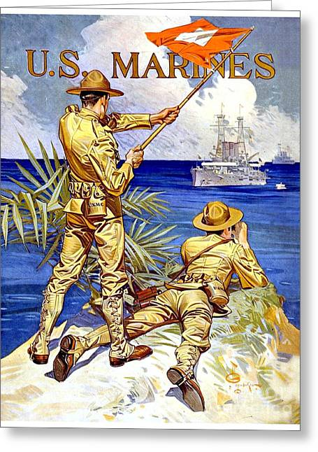 Wwi Greeting Cards - 1917 - United States Marines Recruiting Poster - World War One - Color Greeting Card by John Madison
