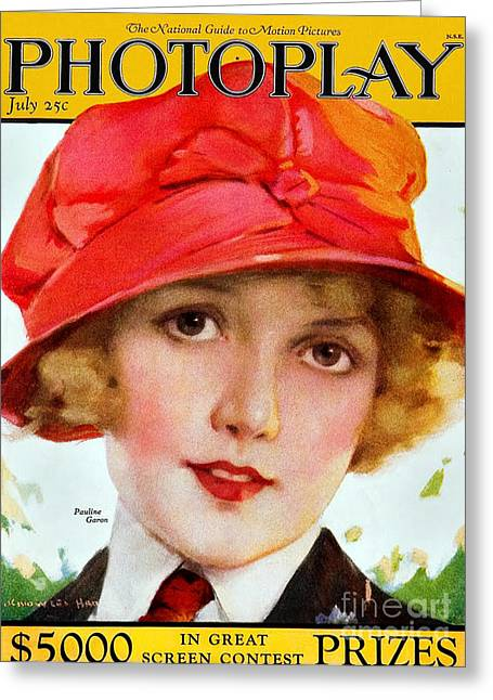 Cinema Drawings Greeting Cards - 1920s Usa Photoplay Magazine Cover Greeting Card by The Advertising Archives