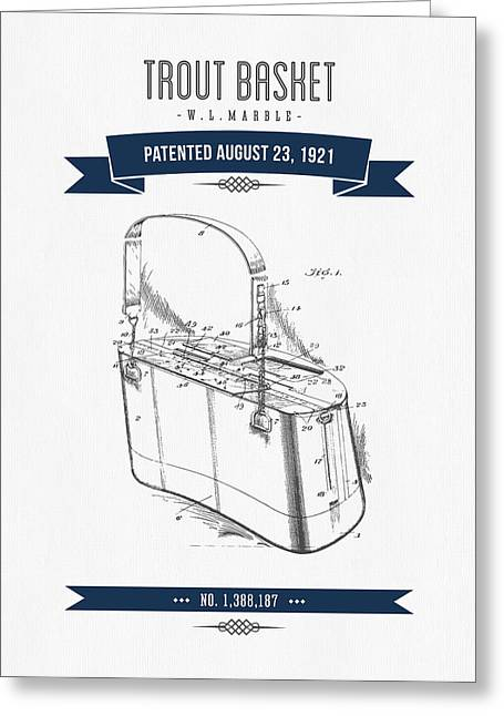 Fishing Mixed Media Greeting Cards - 1921 Trout Basket Patent Drawing - Navy Blue Greeting Card by Aged Pixel