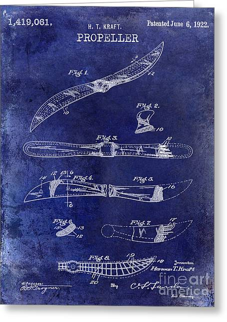 Stearman Greeting Cards - 1922 Propeller Patent Drawing Greeting Card by Jon Neidert