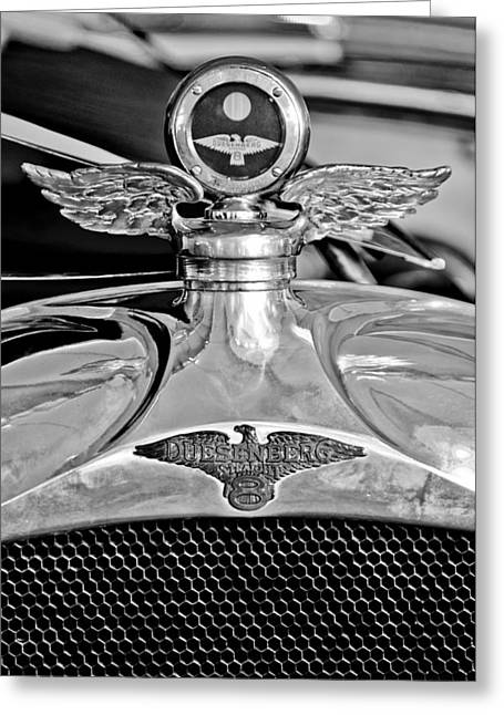 1923 Greeting Cards - 1923 Duesenberg Model A Touring Hood Ornament Greeting Card by Jill Reger
