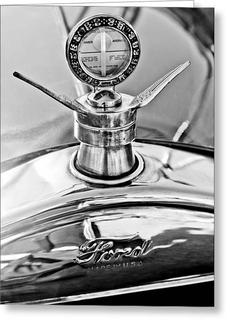 Ford Model T Car Greeting Cards - 1923 Ford Model T Hood Ornament Greeting Card by Jill Reger