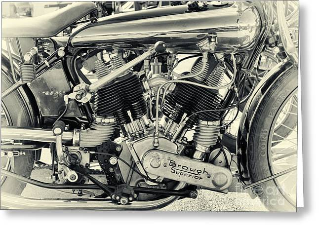 Split-tone Greeting Cards - 1924 Brough Superior SS80 Engine Greeting Card by Tim Gainey