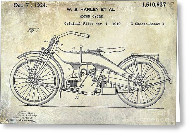 Hogs Greeting Cards - 1924 Harley Davidson Motorcycle Patent  Greeting Card by Jon Neidert