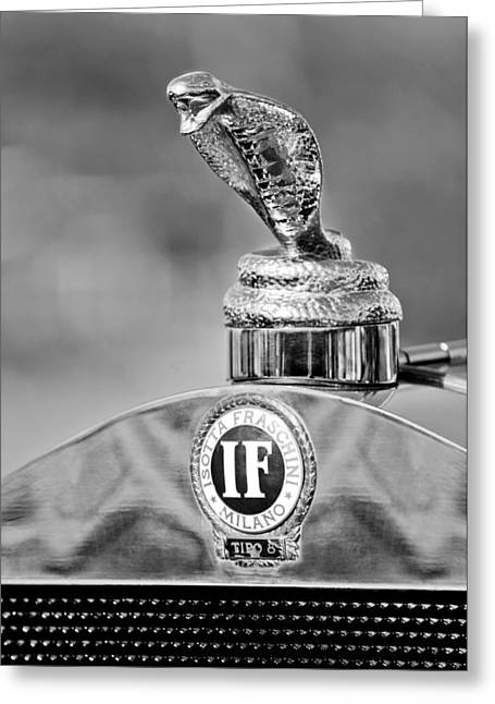 Collector Hood Ornament Greeting Cards - 1924 Isotta-Fraschini Tipo 8 Torpedo Phaeton Hood Ornament Greeting Card by Jill Reger