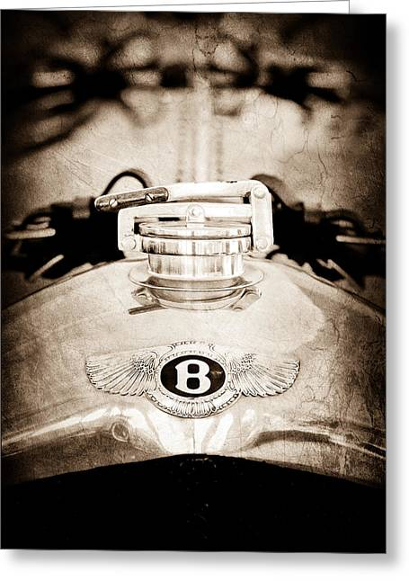 Radiator Greeting Cards - 1925 Bentley 3-liter 100mph Supersports Brooklands Two-seater Radiator Cap Greeting Card by Jill Reger