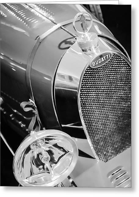 Bugatti Vintage Car Greeting Cards - 1925 Bugatti Type 35 Grand Prix Grille Emblem - Hood Ornament Greeting Card by Jill Reger