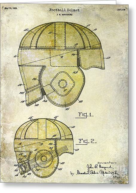 Brown Tones Greeting Cards - 1925 Football Helmet Patent Drawing 2 Tone Greeting Card by Jon Neidert