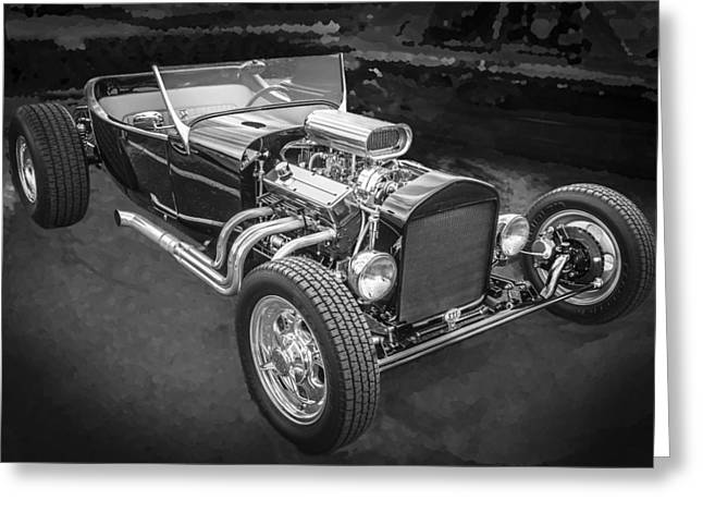 Ford Model T Car Greeting Cards - 1925 Ford Model T Hot Rod BW Greeting Card by Rich Franco