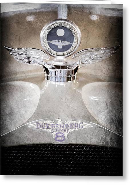 Motometer Greeting Cards - 1926 Duesenberg Model A Boyce Motometer - Hood Ornament Greeting Card by Jill Reger