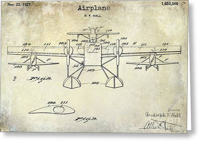 Vintage Aircraft Greeting Cards - 1927 Airplane Patent Drawing Greeting Card by Jon Neidert
