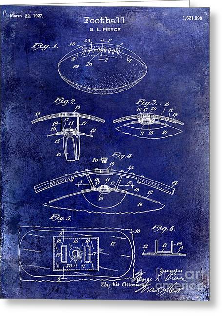 Ny Jets Greeting Cards - 1927 Football Patent Drawing  Blue Greeting Card by Jon Neidert