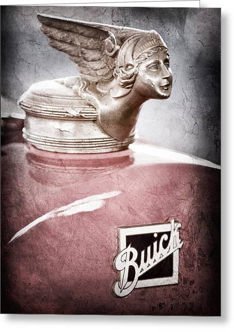 1928 Greeting Cards - 1928 Buick Cutsom Speedster Hood Ornament - Emblem Greeting Card by Jill Reger