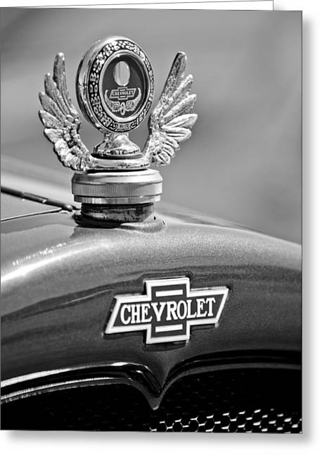 Stake Greeting Cards - 1928 Chevrolet Stake Bed Pickup Hood Ornament Greeting Card by Jill Reger